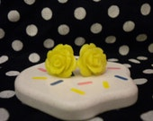 Every Rose Has Its Thorn bright yellow stud earrings