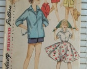 1950s Girl's Summer Vacation Wardrobe Vintage Simpliicty Pattern