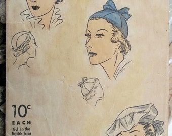 1930s Vintage Women's Hats Pattern Du Barry
