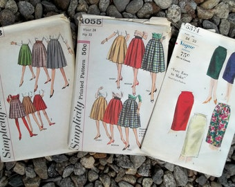 1950s Vintage Patterns A Wardrobe of 24 inch Waist Skirts