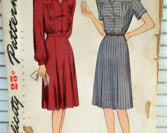 1940s Vintage Dress Simplicity Patterns