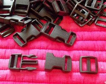 Black Nylon Dog Collar Backpack Clip Sets