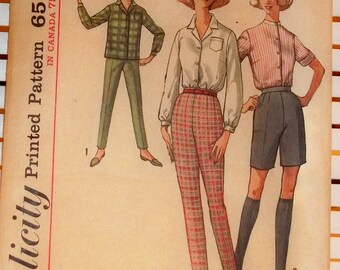 1960s Vintage Simplicity Pattern Skinny Pants Blouse Set