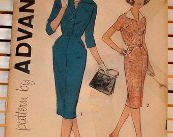 1950s Vintage Advance Pattern Womens Tailored Dress