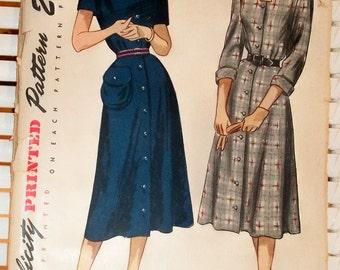 1940s Vintage Buttondown Dress Simplicity Patterns