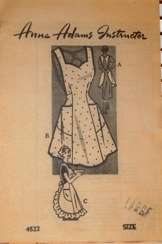 1940s Vintage Pinafore Apron Anne Adams Pattern