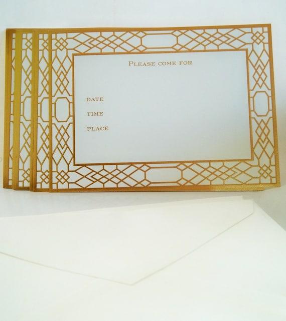 Vintage 60s Crane gold embossed Invitations