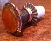 Brown Cupric Coil Knob Wine Stopper