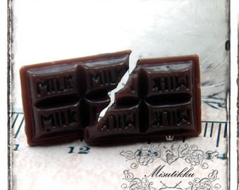 6 PCS X 20mm Milk Bar Chocolate Cabochon -Mini Food Art Supply / Decoden / Scrapbooking Decora Embellishment Decoration (CH03C)