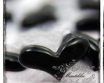 6 PCS X 16mm Small Heart Cabochons in Black Resin Mini Heart Flatback  -Scrapbooking Material Miniature Deco Accessory Case Supplies (HT08B)