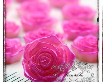 6 PCS X 18mm Small Pink Rose Resin Cabochon  -Scrap booking Decoden Flatback Material Craft Supply (FL10P)