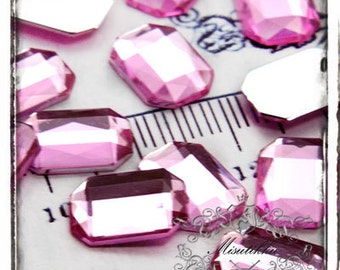 Set of 30 PCS X (10mm X 14mm) Pink Rectangle Acrylic Rhinestone Cabochon Faceted Gems Resin Flatback  -Decora / Jewelry Material (GM.T10MP)