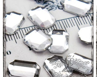 Set of 30 PCS X (10mm X 14mm) Clear White Rectangle Acrylic Bling Rhinestone Cabochon Faceted Gems Resin Flatback Craft Supply (GM.T10MW)