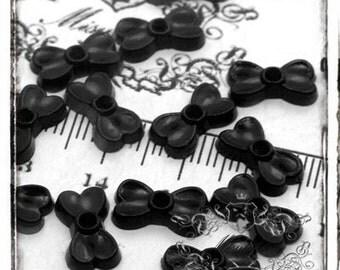 30 PCS X 11mm Small Mini Tiny Black Bow Ribbon Cabochon Resin Flat back  -Scrap booking Decoden Nail Art miniature Decoration (GM.BW02B)