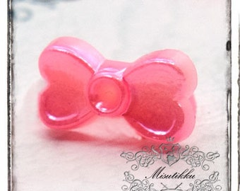 30 PCS X 11mm Small Pink Bow Ribbon Cabochon Resin Flat back -Scrap booking Decoden miniature Decoration (GM.BW02P)