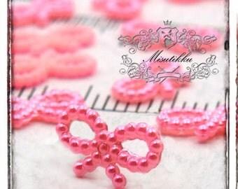50 PCS X 18mm Pink Pastel Pearly Small  Bow Cabochon Mini Ribbon Cabochon Resin Tiny Flat back -Decora Nail Art Jewelry Supplies (GM.BW03P)
