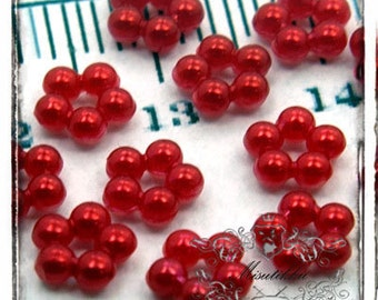 50 PCS X 12mm Small Red Pearlized Ring Cabochon Resin Flat back  -Decoden Scrap booking / Nail Art / Jewelry Acrylic Supply (GM.OT01R)