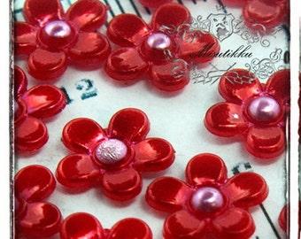 30 PCS X 10mm Small Mini Tiny Red Daisy Flowers Cabochon Resin Flat back  -Deco Decoration  Nail Art / Jewelry Acrylic Supplies (GM.FL01R)