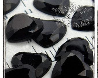 15 PCS X 16mm Black Bling Diamond Crystal Heart Cabochon Resin Flatback  -Decoden Scrap booking / Miniature  / Jewelry Supplies (GM.DH16MB)