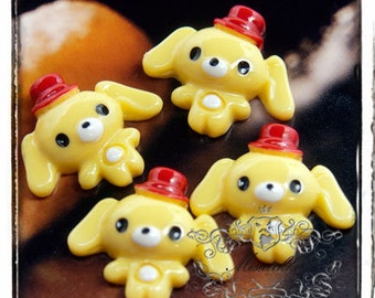 6 PCS X 25mm Dog Cabochon in Yellow Resin Flat Back Scrapbooking / Decoden / Mini Deco Decoration (AM16Y)