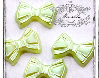 50 PCS X 10mm Small Mini Tiny Bow in Lime Green Pearlized Cabochon Resin Flat back  -Deco embellishment  Nail Art Jewelry Supply (GM.BW04G)