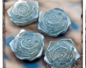 6 PCS X 18mm Small Light Blue Rose Pearlized Resin Cabochon Flact Back -Scrapbooking / Decoden / Decora Material Craft Supply (FL10L)