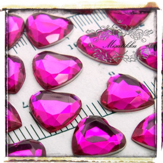 15 PCS X 16mm Hot Pink Bling Diamond Crystal Heart Cabochon Resin Flat back  -Deco Supply /  DIY Case / Jewelry Embellishment (GM.DH16MH)