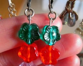 mysweetlolliepop# Earrings flowers in bright green, orange and soft lilac, indian glass beads