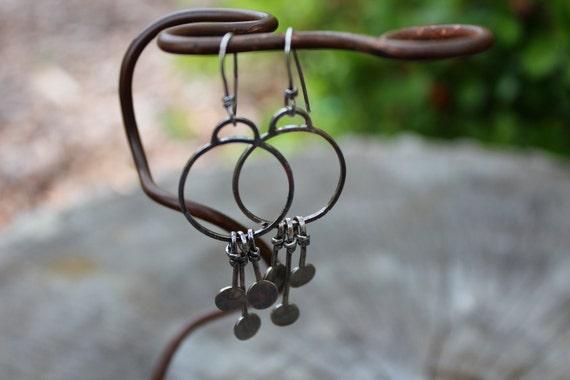 Circle The Moon - Sterling Dangle Earrings