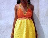 Vibrant Crochet Halter Dress