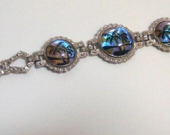 Vintage Morpho Butterfly Under Glass Bracelet 7 1/2 Inches Silver