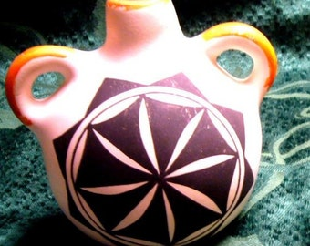 Small 4 Inch Acoma Pottery Jug with Handles - Geometric Pattern, Signed