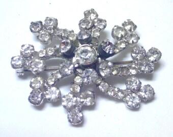 Vintage Rhinestone Cosmic Swirl Pin/Brooch - Clear Rhinestones Silver Tone