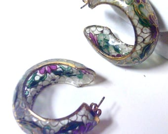 Vintage Chinese Clear Cloisonne Plique a Jour Hoop Earrings - Hand Crafted