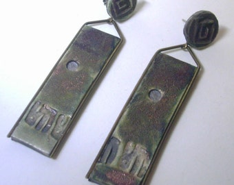 Vintage Hand Crafted Raku Ceramic Earrings - Green and Rust Embossed Oblong
