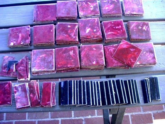 Vintage 1950 S Plastic Wall Tile Maroon Marble With