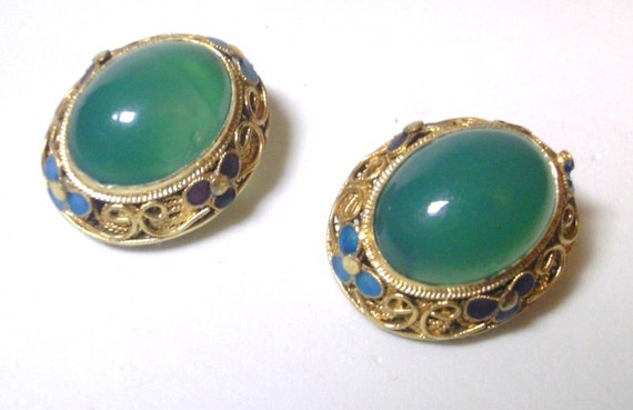Vintage Green Jade and Gold Cloisonne Clip Earrings  Hand Crafted