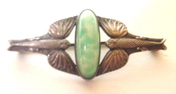 Vintage Sterling Silver and Jade Flying Fish Brooch/Pin