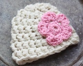 Chunky Cream and Light Pink Beanie-N to 3 Month (READY TO SHIP)