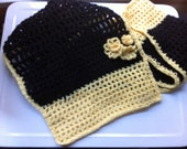 Black and Yellow Scarf (with three little  flowers on one end)