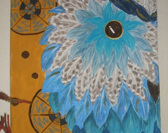 Blue Retro Owl Painting