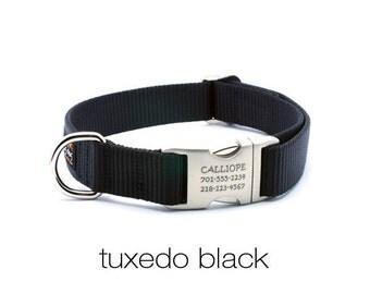 Laser Engraved Personalized Buckle Webbing Dog Collar - Black