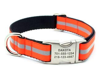Reflective Dog Collar with Laser Engraved Personalized Buckle - NEON ORANGE