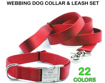 HEAVY DUTY Personalized Webbing Dog Collar and Adjustable Handle Leash Set