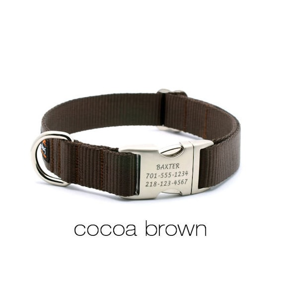 Laser Engraved Personalized Buckle Webbing Dog Collar - Cocoa Brown