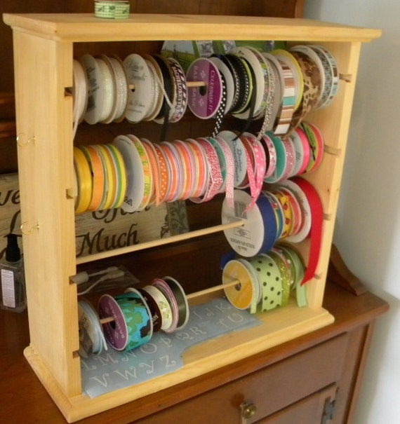 wooden ribbon rack