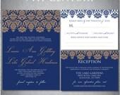Printable Wedding Invitation and RSVP - Damask