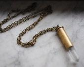Create Your Own Custom Crystal Quartz Bullet Necklace- You choose bullet casing, chain, and hardware