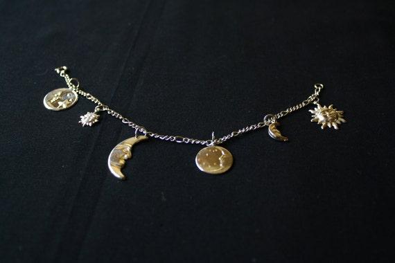 celestial sun and moon charm bracelet anklet