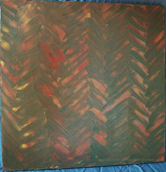 I'll Leave Skidmarks on Your Heart 24x24 Abstract Acrylic Painting Earth Tone Herringbone